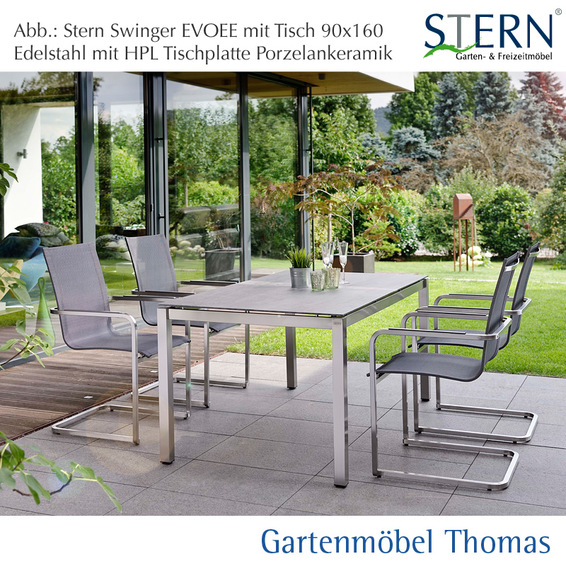gartenm bel thomas stern evoee gruppe edelstahl 4 freischwinger tisch 160x90cm. Black Bedroom Furniture Sets. Home Design Ideas