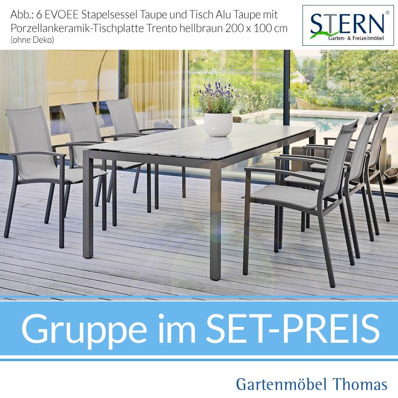 Stern EVOEE GRUPPE   6 Stapelsessel Alu Taupe Bezug Kieselgrau + Tisch  200x100 Platte Porzellankeramik