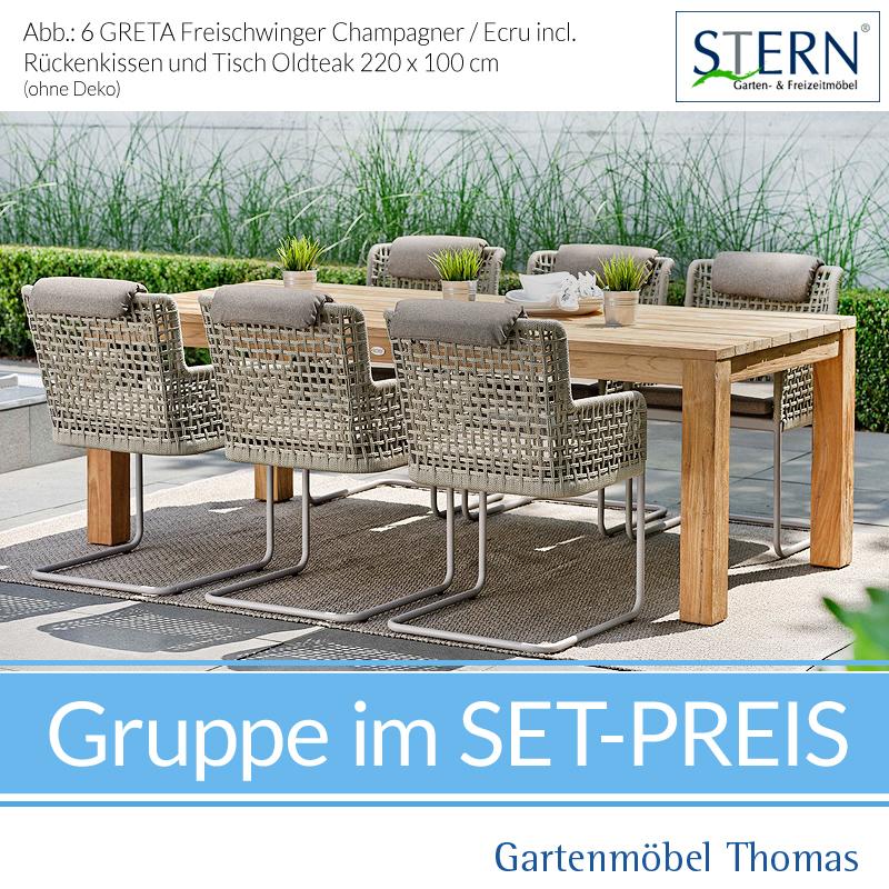 Stern Greta Gruppe 6 Freischwinger Kordel Ecru Teaktisch Fsc