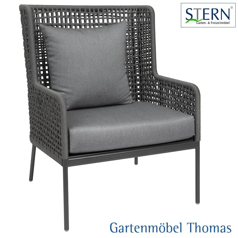 stern greta lounge sessel alu anthrazit kordel platin sitz r ckenkissen 100 polyacryl. Black Bedroom Furniture Sets. Home Design Ideas