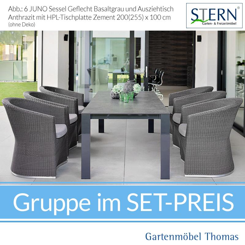 Stern JUNO GRUPPE   6 Sessel JUNO Geflecht + Ausziehtisch 200 255x100  Platte HPL Zement