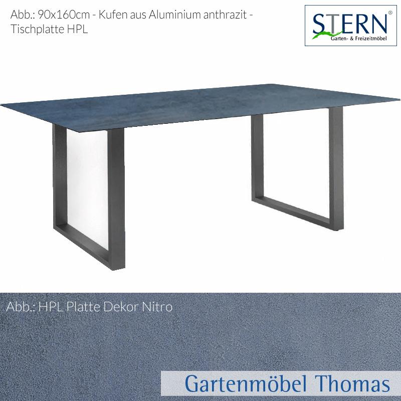 Gartenmöbel Thomas | Stern KUFENTISCH 160x90cm Alu Anthrazit - HPL ...
