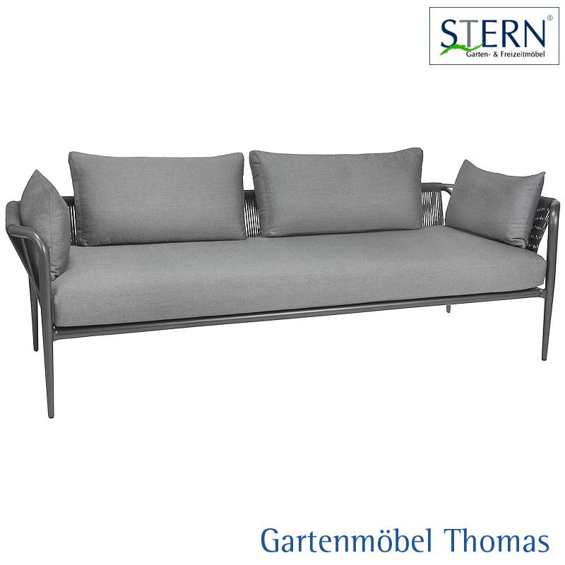 Stern Laguna 3 Sitzer Lounge Sofa Alu Anthrazit Kordel Anthrazit