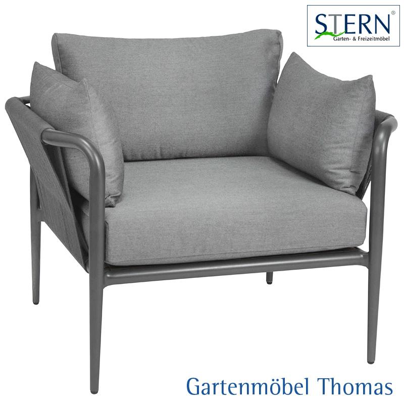 Stern LAGUNA Lounge Sessel - Alu anthrazit - Kordel anthrazit - Sitz-  Rückenkissen 100% Polyacryl seidengrau