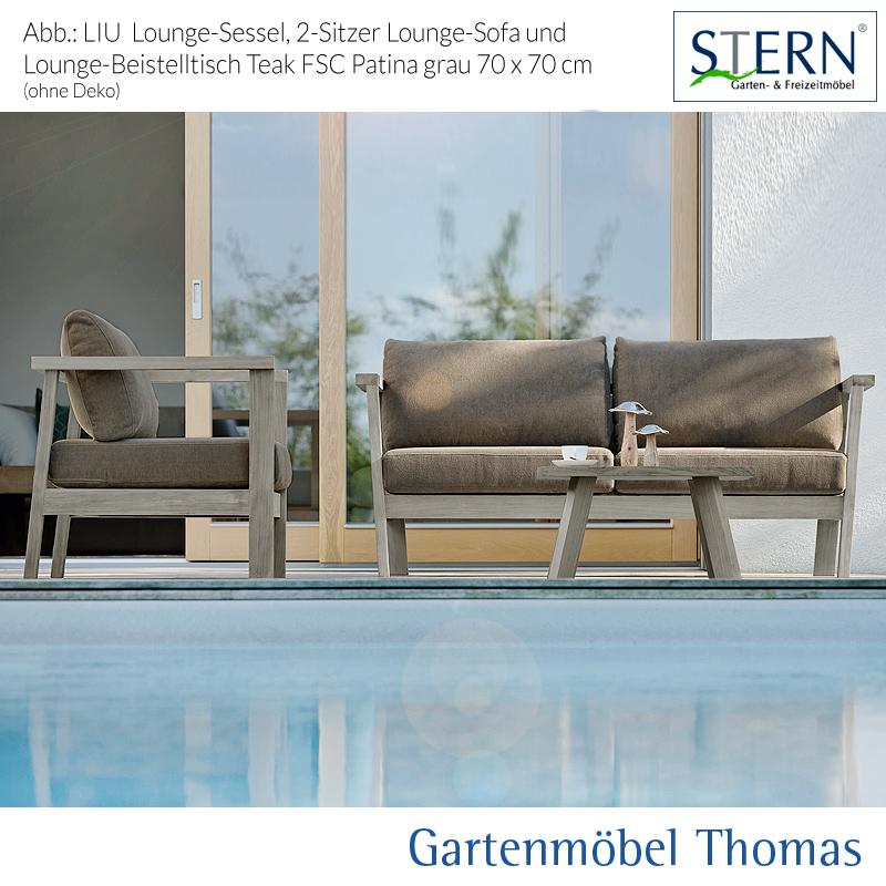 Stern LIU 2 Sitzer Lounge Sofa Teak Patina Grau   Sitz  Rückenkissen 100%