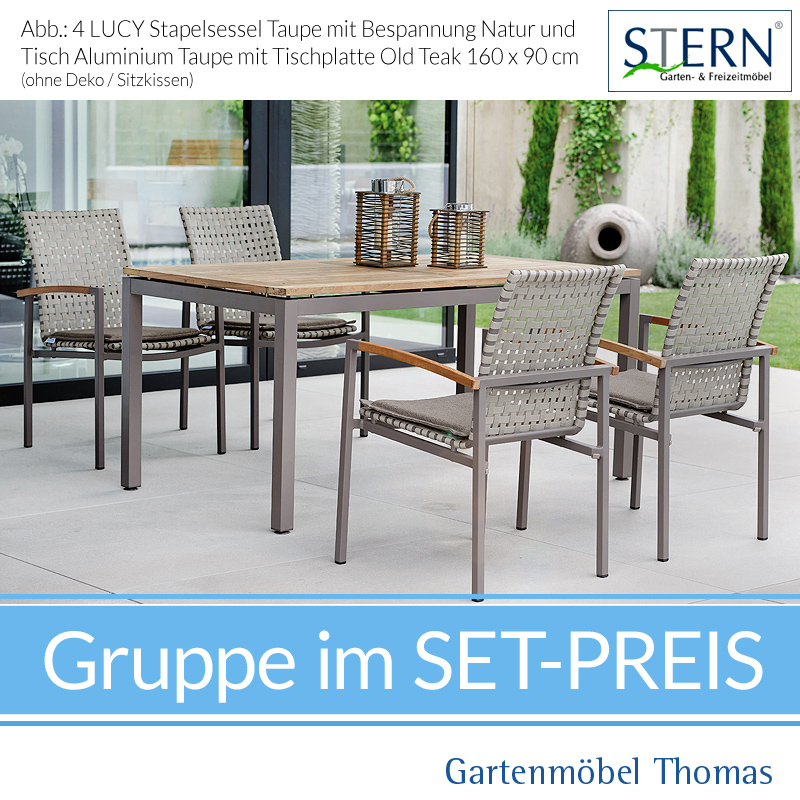 Stern LUCY GRUPPE Alu Taupe   4 Sessel Gurtbespannung Natur + Tisch 160x90  Teakplatte