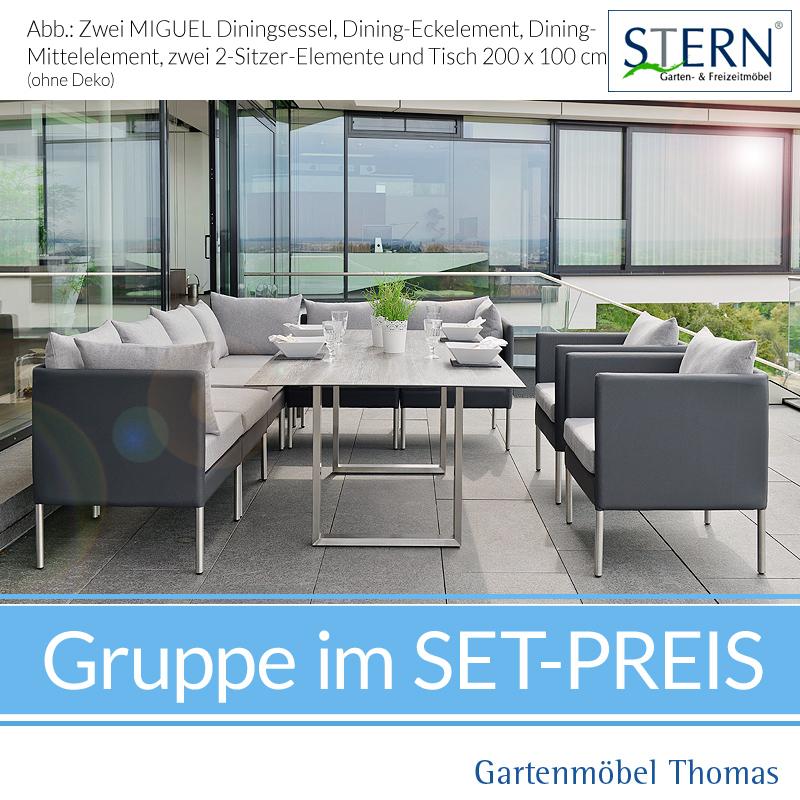 Stern MIGUEL GRUPPE   Dining Lounge 9teilig / Tisch 200x100
