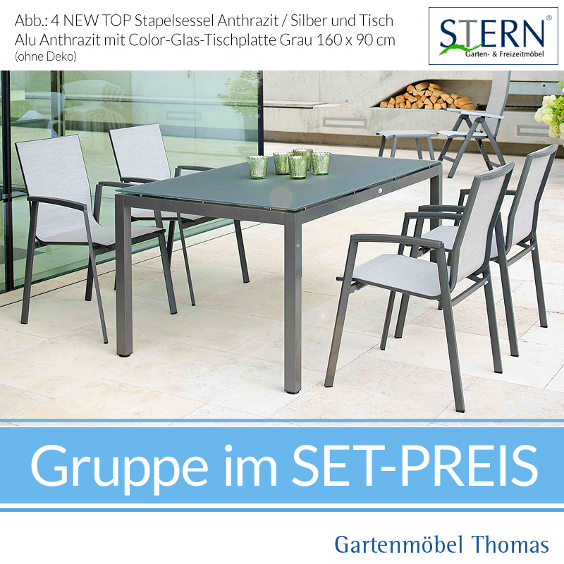 Stern NEW TOP GRUPPE   4 Sessel NEW TOP Anthrazit + Tisch Alu 90x160 Platte  HPL