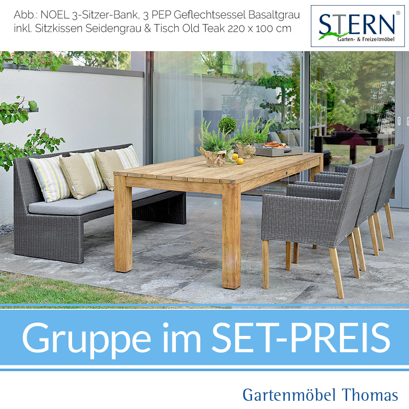 Relativ Stern PEP & NOEL GRUPPE 3 Sessel + 1 Bank + Tisch Old Teak TM38