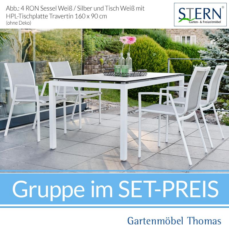 Stern RON GRUPPE   4 Sessel Alu Weiss Bezug Silber + Tisch 160x90 HPL Platte