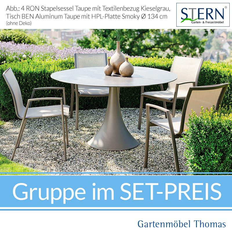 Stern RON GRUPPE Alu   4 Sessel + Runder Tisch 134cm Taupe   HPL Platte  Smoky