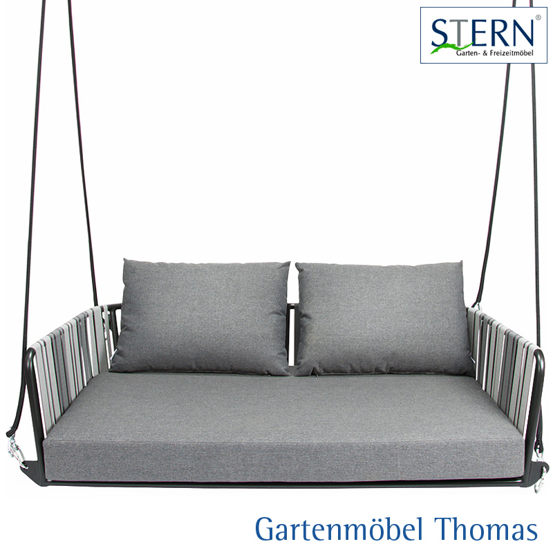 gartenm bel thomas stern space 2 sitzer schaukel alu anthrazit textilen grau kissen 100. Black Bedroom Furniture Sets. Home Design Ideas