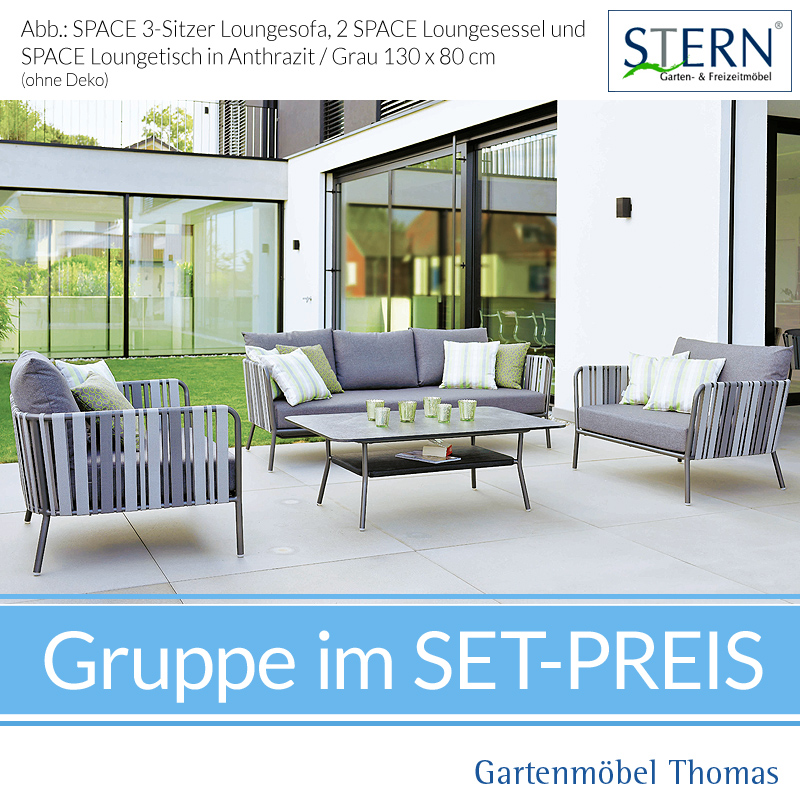 Stern Space Gruppe 1 Sessel Space Anthrazit Bezug Grau 2 Sitzer
