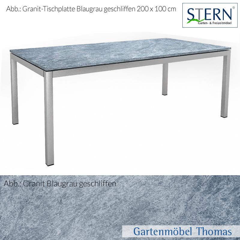 gartenm bel thomas stern tischplatte 200x100cm granit blaugrau geschliffen hier online kaufen. Black Bedroom Furniture Sets. Home Design Ideas