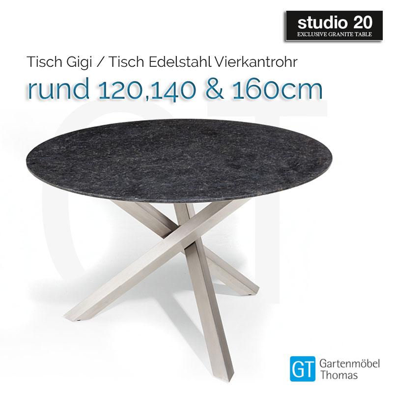 Studio20 Beistelltisch Gigi Gestell Edelstahl 4cm Tischplatte