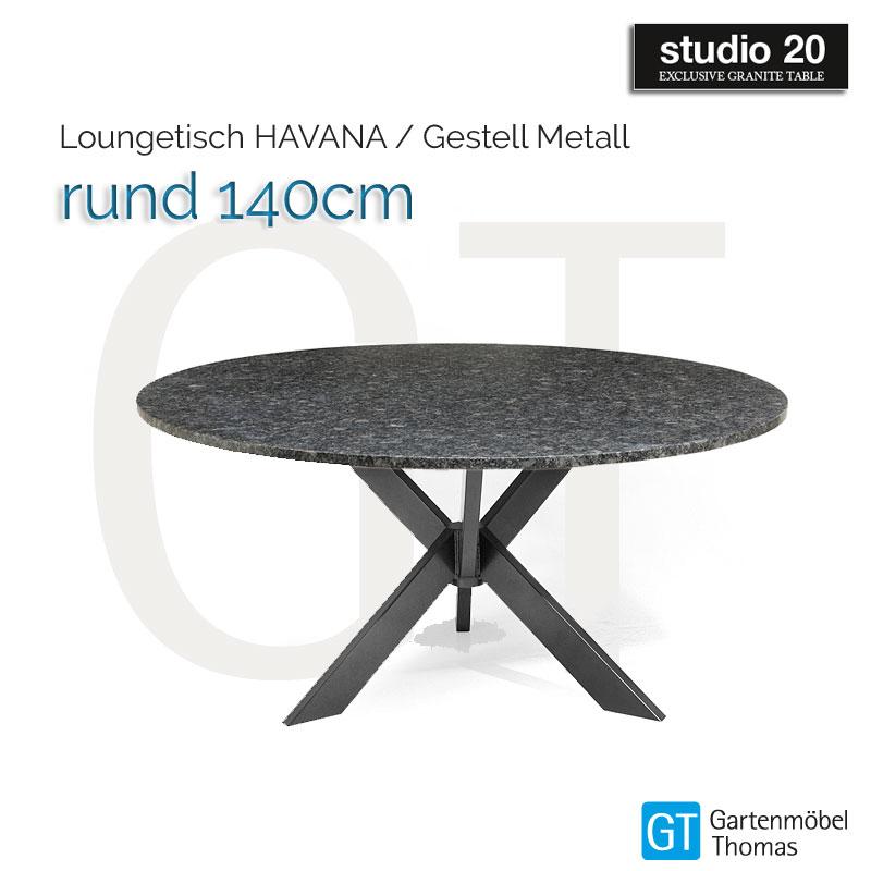 Tischgestell Für Runde Tischplatte.Studio20 Tisch Havana Gestell Metall Tischplatte Rund 140 Granit