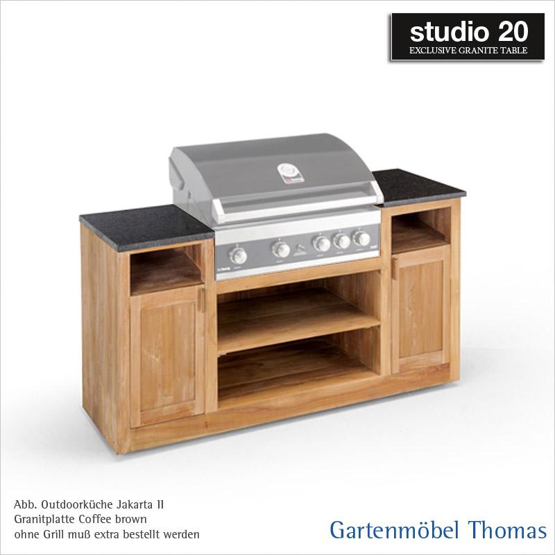 Studio20 SURABAJA Outdoor-Küche - Gestell Teak - Platte Coffee Brown ...