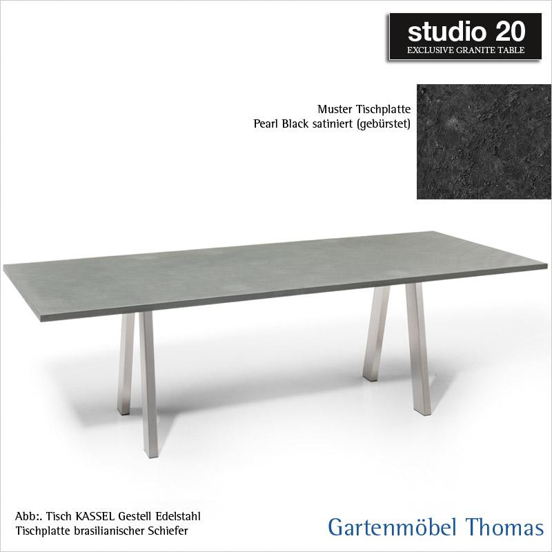 Studio20 Tisch Kassel Gestell Edelstahl Tischplatte Granit 180x90