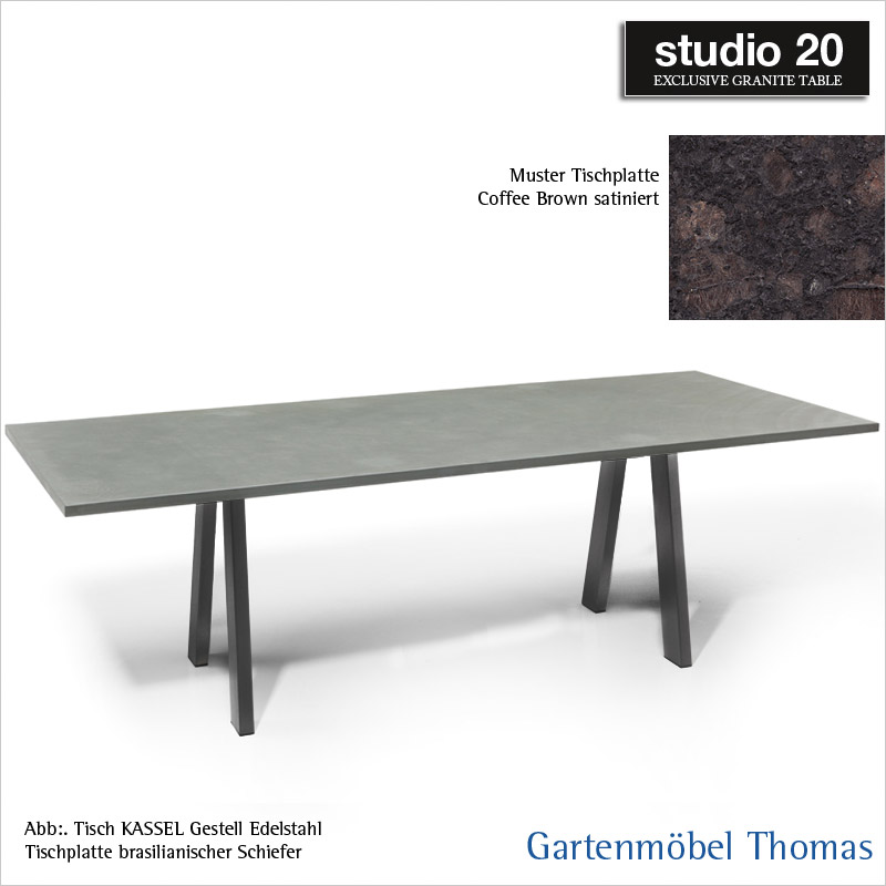 gartenm bel thomas studio20 tisch kassel gestell metall anthrazit tischplatte granit 160x90. Black Bedroom Furniture Sets. Home Design Ideas