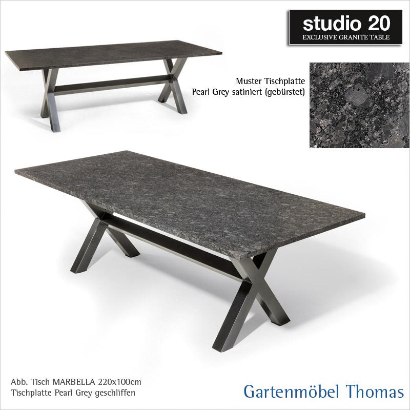 gartenm bel thomas studio20 tisch marbella gestell metall anthrazit tischplatte granit. Black Bedroom Furniture Sets. Home Design Ideas