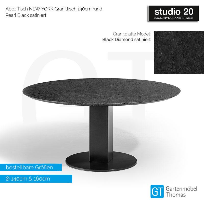 Studio20 Tisch New York Gestell Granit Metall Tischplatte Granit