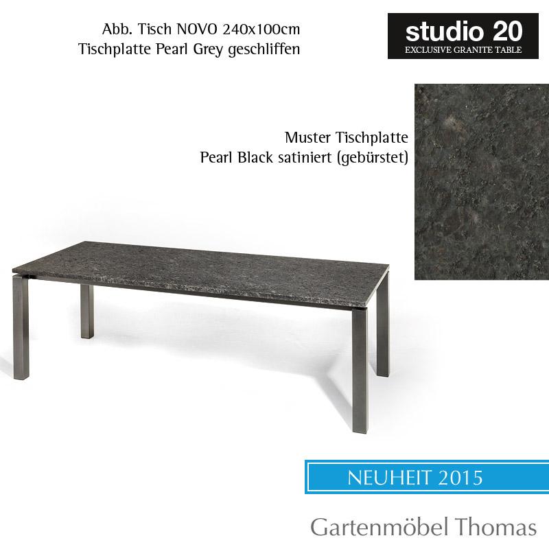 Studio20 Tisch Nova Metall Anthrazit Granit 220x100 Black Diamond