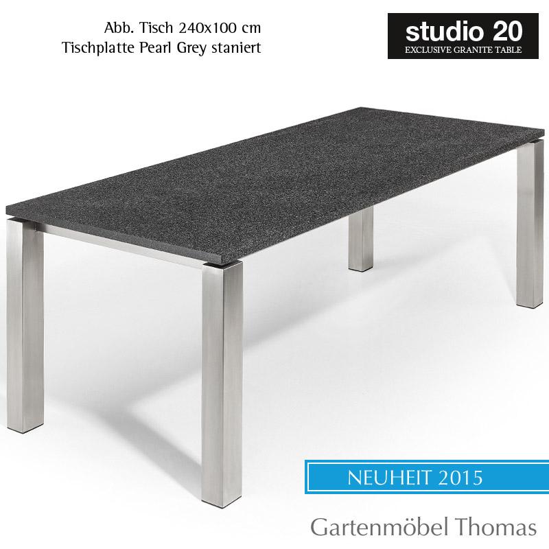 Studio20 Tisch Stavanger Gestell Edelstahl Tischplatte Granit