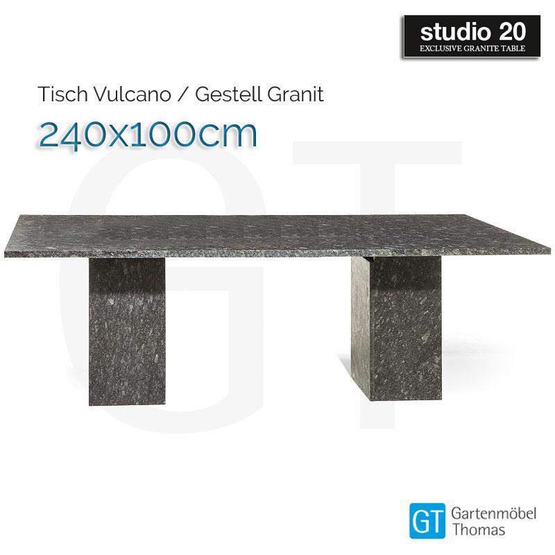 Studio20 Tisch Vulcano Gestell Granit Tischplatte 240x100 Granit