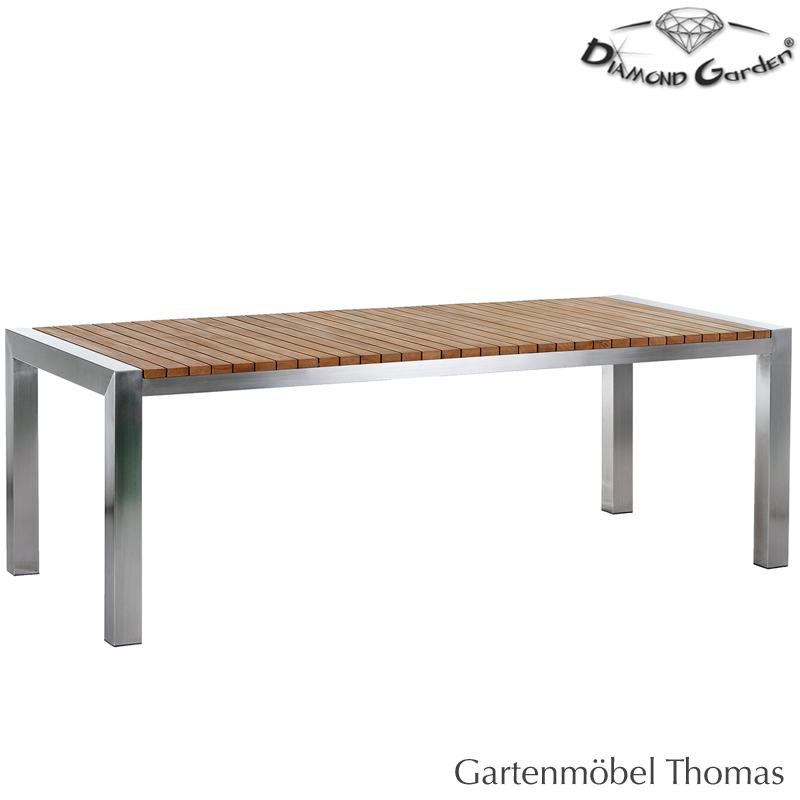 Diamond Garden Napoli Tisch 220x100 Gestell Edelstahl Platte