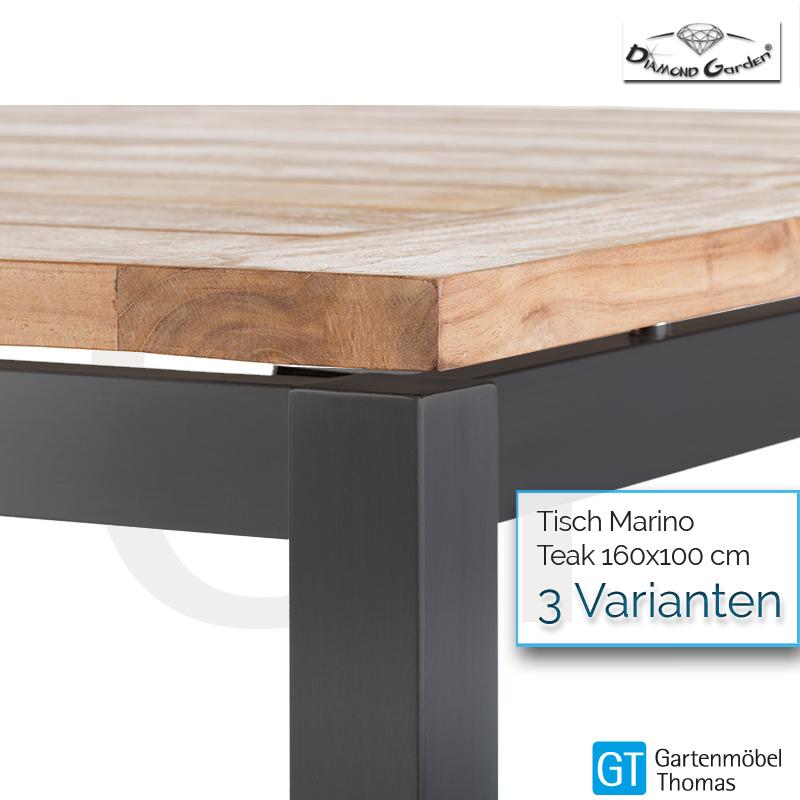 Diamond Garden SAN MARINO Tisch Ø120 Edelstahl Platte HPL