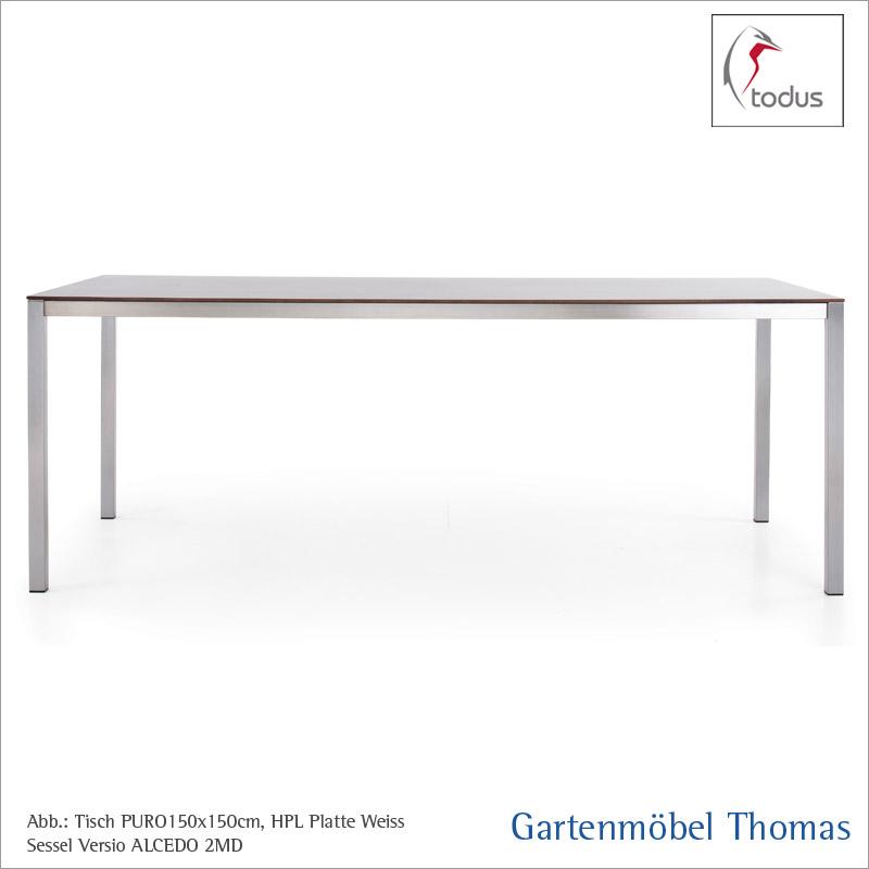Gartenmöbel Thomas   Todus PURO Tisch Edelstahl 180x100 / HPL weiss ...