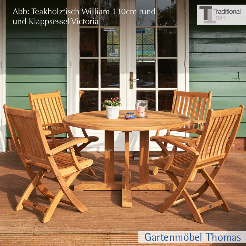 gartenm bel thomas traditional teak william tisch teakholz fsc rund 130 cm hier online kaufen. Black Bedroom Furniture Sets. Home Design Ideas